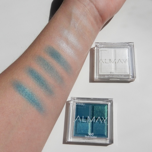 Almay Shadow Squad Swatches and review in the shades 160 Thrill Seeker and 100 Unicorn