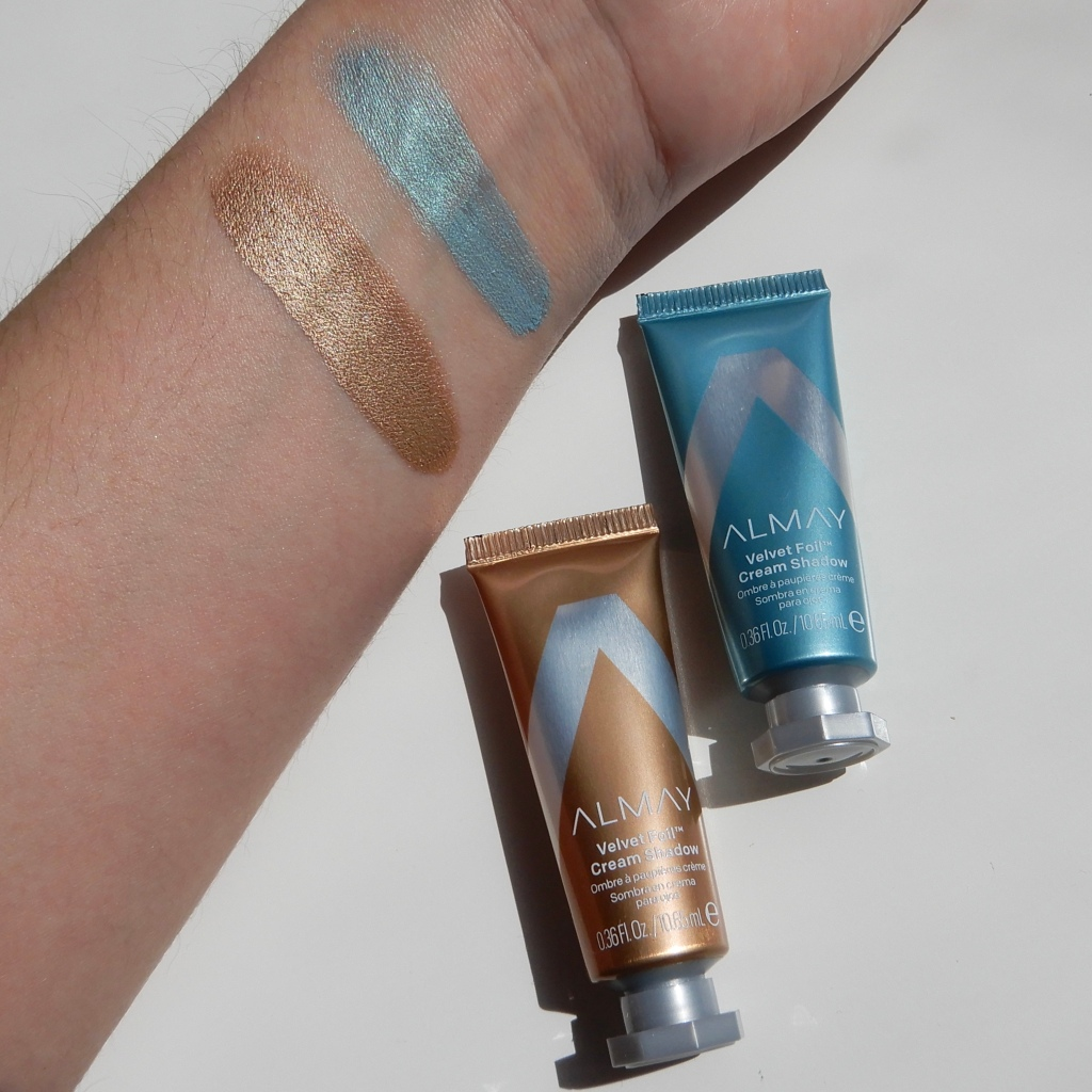 Almay Velvet Foil Creme Shadow Infinite Sky Golden Vibes swatch review