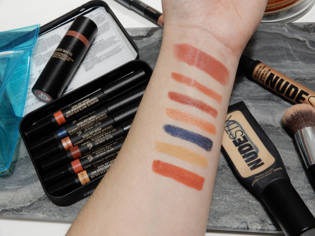 Swatches of the NudeStix Sun and Sea kit